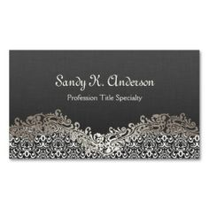Elegant Floral Silver Damask Lace Business Card Templates
