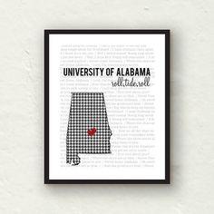 University of Alabama -  Alabama Crimson Tide - Alabama decor-  8x10 Alabama print. $12.00, via Etsy.    @Samantha Angoletta Joe This is so you!