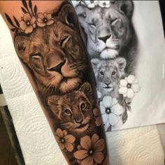 Lion Tattoo Sleeves, Leg Sleeve Tattoo, Best Sleeve Tattoos, Tattoo Sleeve Designs, Mom Tattoo Designs, Lioness And Cub Tattoo, Lion Cub Tattoo, Female Lion Tattoo, Mommy Tattoos