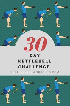 30 Day Kettlebell Challenge, just 2 exercises and only 10 minutes per day. 30 Day Kettlebell Challenge, just 2 exercises and only 10 minutes per day. 30 Day Challenge For Men, Month Workout Challenge, Kettlebell Challenge, Kettlebell Circuit, Kettlebell Training, Kettlebell Swings, Thigh Challenge, Big Butts, Easy Workouts