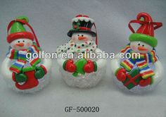 snowman fimo clay christmas decoration with led light