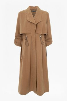 e1a5b56fba812 French Connection Runaway Drape Maxi Coat in Brown (Carnaby Tan)