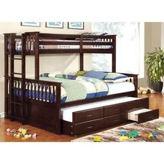 Furniture of America Rola Mission Twin Xl/Queen Bunk Bed with Trundle (Espresso), Kids Unisex, Brown Bunk Beds Small Room, Modern Bunk Beds, Cool Bunk Beds, Kids Bunk Beds, Small Rooms, Modern Bedding, Luxury Bedding, Bunk Rooms, Bedrooms