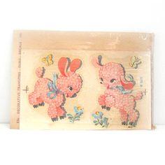 Vintage Crib Decals | Vintage Duro Decal Transfers Nursery Decor Pink Baby Lambs NOS