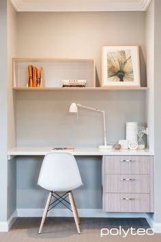 Polytec Study and Entertainment - Desk drawers and shelving in Satra Wood Ravine, Laminate desktop in Classic White Matt. Laundry Doors, Study Nook, Study Space, Modern Apartment Decor, Kitchen Benches, Desk Areas, Built In Desk, Desk With Drawers, Home Bedroom