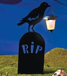 silhouettes shadow outdoor halloween tombstone yard decorations w solar light tbd - Solar Halloween Decorations