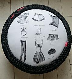 vintage poef gemaakt van oude autoband. Meer poefjes en recycle- upcycle- restyling www.bontevink.nl pouf made from old tire