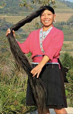 """This long hair remedy belongs to a small village in China called """"Huangluo Village"""". This village is famous for the ladies having long hair and not a single reported case of gray hair. Ladies of this village have hairs longer than 1 meter on an average. Long Hair Remedies, Hair Remedies For Growth, Hair Growth Treatment, Hair Treatments, Natural Remedies, Rosé Hair, New Hair, Hair Dye, Beauty Tips"""