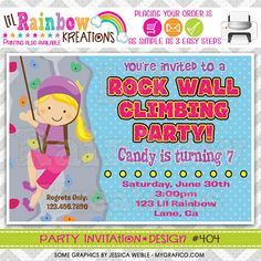 404 DIY Rock Wall Climbing Party Invitation Or by LilRbwKreations