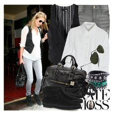 """""""Celebrity Street Style : Kate Moss"""" by fashionmint ❤ liked on Polyvore featuring Current/Elliott, H&M, K Karl Lagerfeld, ASOS, Alessandro Dell'Acqua, Minnetonka, Ray-Ban, skinny jeans, moccasin boots and vest"""