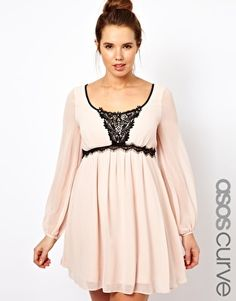 ASOS CURVE Dress With Embellished Lace Trim - The 70's are making a comeback - sexy as dress!