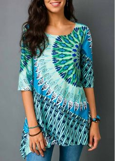 Asymmetric Hem Printed Half Sleeve Blouse | Rosewe.com - USD $30.03 Trendy Tops For Women, Blouses For Women, Women's Blouses, Tunics, How To Roll Sleeves, Half Sleeves, Discount Designer Clothes, Printed Blouse, Fashion Outfits