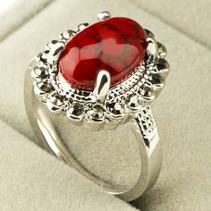 Red Gree Blue Mix Color Oval Turquoise Stone Black Rhinestones Antique Silver Vintage Ring for Women Gift Fashion Jewelry A140