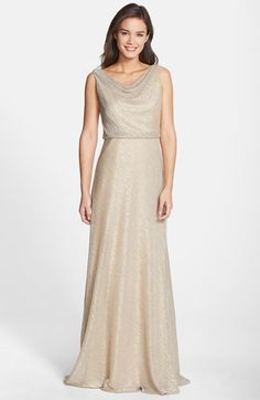 "Free shipping and returns on Jenny Yoo 'Madelyn' Drape Neck Galaxy Knit Gown at Nordstrom.com. <p><B STYLE=""COLOR:#990000"">Pre-order this style today! Add to Shopping Bag to view approximate ship date. You'll be charged only when your item ships.</b></p><br>A textured tri-tone metallic knit illuminates the graceful silhouette of this sophisticated full-length gown. The beautifully draped neckline and blousy top are gathered to the waist above a gently flared, figure-flattering skirt."