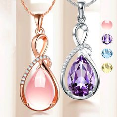 Fashion Pendants Necklaces For Women Jewelry Classic Rose Gold Plated Crystal Rhinestone Water Drop Charm Pendant