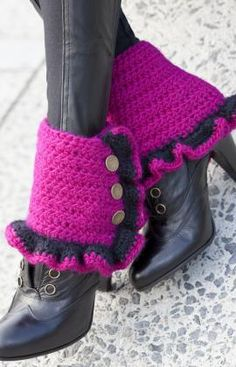 #redheartyarn Funky Spats Crochet Pattern. This would be awesome for those Steam punk cos-players out there!