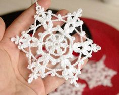 Crochet snowflakes - winter decor.  The price is for ONE SNOWFLAKE.  The snowflake is crocheted using cotton yarn and starched. The diameter of snowflake