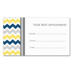 yellow blue grey chevron salon appointment cards - Appointment Cards