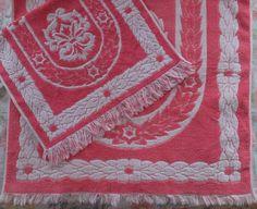 Set 2 Vintage Fieldcrest Pink White Floral Plush Cotton Hand & Bath Towels