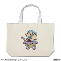 Baby Boy in Carriage  Large Tote Bag