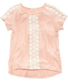 Monteau Girls' Crochet-Detail Tee - Kids - Macy's