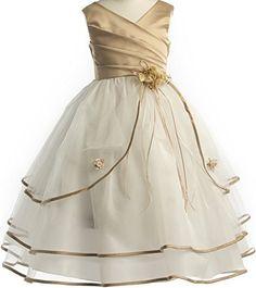 b8f16782e50 Dreamer P Sleeveless Satin Bodice Triple Tulle Layers Flower Girl Dress  Size 2-16 Robes