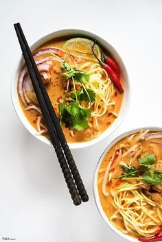 This Spicy Thai Curry Noodle Soup Recipe is rich, creamy, and packed with complex and bold flavors. Asian Food