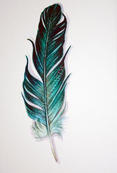Aquamarine Feather Painting Original Watercolor por jodyvanB