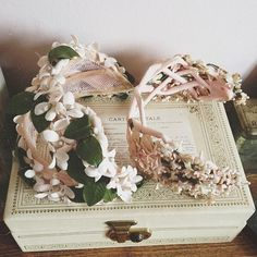 "Vintage hats This is the exact type of hat our Mom's wore at our wedding, January 18, 1958 , also the Jewerly box pictured is just like my first ""grown up "" one I had  kls"