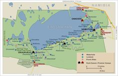 Map of Etosha National Park (NP) Namibia showing waterholes, NP rest camps and link to self-drive travel information journal Photography Essentials, National Parks Map, West Africa, South Africa, The Beautiful Country, Self Driving, Travel Information, Africa Travel, Travel Photographer
