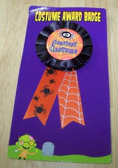 Scariest Costume Award Halloween Party Button Pin Prize Black Orange Spider Web #Unbranded