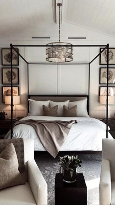 Neutral modern bedroom decor with modern four poster bed, neutral bedroom d Bedroom Bed Design, Home Decor Bedroom, Modern Bedroom, Bedroom Furniture, Bedroom Ideas, Bedroom Colors, Interior Livingroom, Furniture Layout, Trendy Bedroom