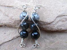 Sterling Silver Earrings with Black Jasper Beads by KAStyles, $20.00