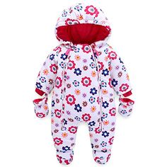 Vine Newborn Baby Hooded Fleece Romper Snowsuit Infant Onesies Footed Jumpsuit