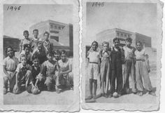 """""""Equipo de futbol PAULETE S.D. del Puente de Vallecas, su campo de juego: las calles. Estas fotografias datan del año 1946""""."""