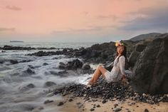 Unique Maui trash the dress session by Maui photographers Love and Water www.lovewaterphoto.com #Maui #Hawaii #trashthedress #flowercrown #weddinginspiration #flowers #mermaid #photoshoot