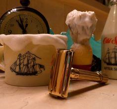 Alternate version: Gillette Aristocrat safety razor, 1946-47; Old Spice shaving mug; Ever-Ready No. 200 shaving brush; Old Spice aftershave (milk glass)
