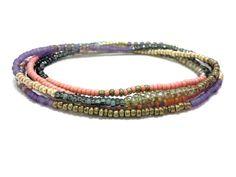 Seed bead wrap bracelet multi strand beaded stretch by JewelRiot, $23.00