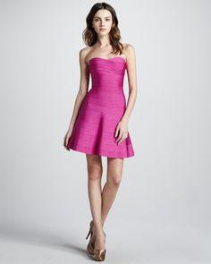 Herve Leger Strapless Flared Bandage Dress HDR400 Pink