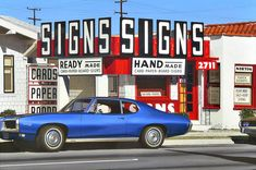 "michaelwardartist: ""Vehicles 8 More Long Beach cars, in paintings based on photos from the Signs Signs features a Pontiac Tempest with a hard-to-paint bulbous body, and a piece of a Toyota."