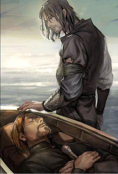 - Aragorn and Boromir by 이맘 (@oOZLo) (by imam).oooohhhhh noooooo!!! Also faramir your arm?!?!
