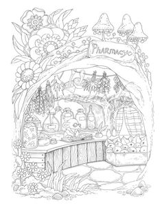 Nice Little Town 7 (Adult Coloring Book, Coloring pages PDF, Coloring Pages Printable, For Stress Re