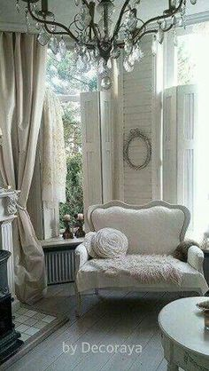 AVA - mismatched furniture in neutral shades of tone on tone whites. - Home Decor - AVA – mismatched furniture in neutral shades of tone on tone whites - Shabby Chic Bedrooms, Shabby Chic Homes, Shabby Chic Furniture, Distressed Furniture, French Country Living Room, French Country Bedrooms, Country French, French Cottage, Country Chic