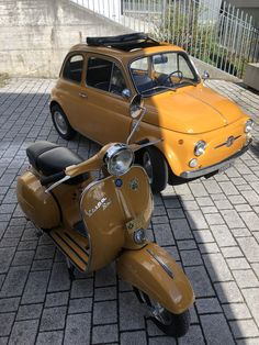 """The Vespa is a line of scooters patented on April 1946 by the company Piaggio & Co, S. The name Vespa, which means """"wasp"""" in Italian, was chosen by Enrico Piaggio. Vespa Ape, Scooters Vespa, Scooter Moto, Piaggio Vespa, Motor Scooters, Scooter Girl, Motor Car, Fiat Cinquecento, Fiat Abarth"""