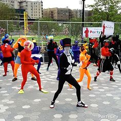 You're sure to attract attention if you get together a flash mob dressed in colorful Morphsuits.