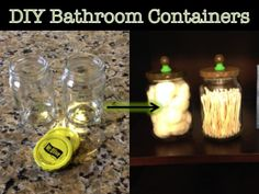 DIY Bathroom Containers - super easy and a great use for old pickle jars!