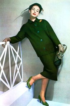 Givenchy, 1957 vintage designer couture fashion style green wool suit knit shoes purse model magazine color photo modern boxy style jacket pencil skirt 50s 60s