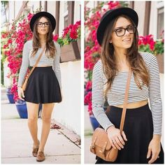 Long-sleeve stipes, skater skirt, brown bag and shoes..