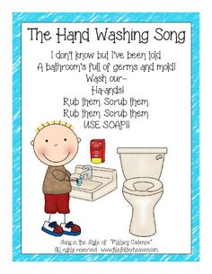 The Hand Washing Song Classroom Poster : File Folder Games at File Folder Heaven - Printable, hands-on fun! Kindergarten Songs, Preschool Music, Preschool Lessons, Preschool Classroom, Preschool Activities, Preschool Printables, Preschool Learning, Therapy Activities, Hand Washing Song