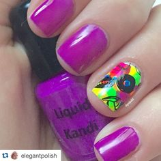 """""""#Repost @elegantpolish ・・・ Swatch #7 This polish is called """"Grapetart"""" from the Happy Hour Collection by @liquidkandi. I have never found a real neon purple, but this one is definitely a neon purple! It took 1 coat to become opaque and had an amazing formula! No white base and no top coat! For the design I used all of the polishes in the collection for the background, and plate BP-38 ID #18781 from @bornprettystore."""" Photo taken by @liquidkandi on Instagram, pinned via the InstaPin iOS App…"""